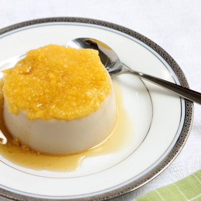 Skinny Maple Panna Cotta with Peach Puree (featuring Visalus Vi-Shake mix)