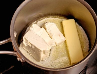 melting butter and cream cheese