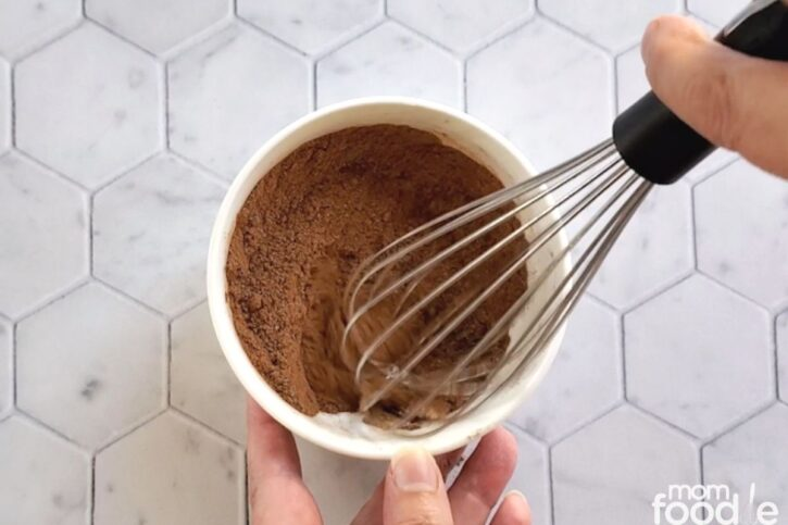 mixing the spices in small bowl with whisk.