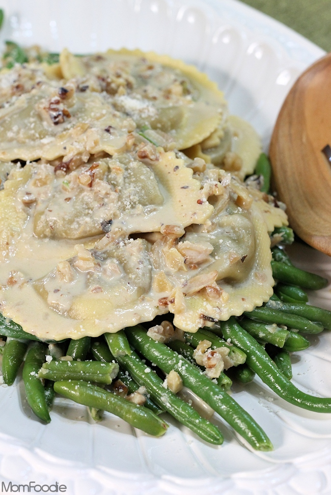 mushroom agnolotti and green beans in creamy walnut sauce recipe
