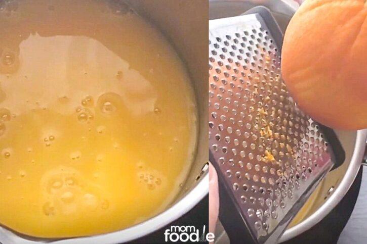 orange juice mixture with orange zest in pan on stove.