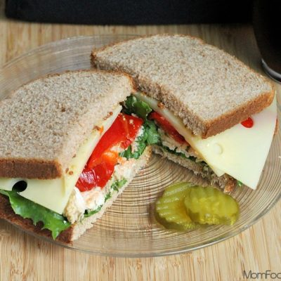 Pesto Chicken Roasted Pepper and Swiss Sandwich: Real Lunch Recipe #SargentoCheese