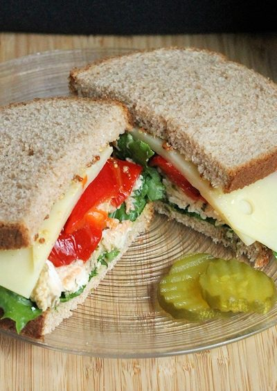 pesto chicken roasted pepper and swiss sandwich