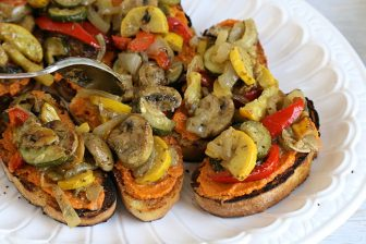 pesto vegetables on bruschetta
