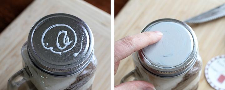 preparing glue to apply sugar scrub label