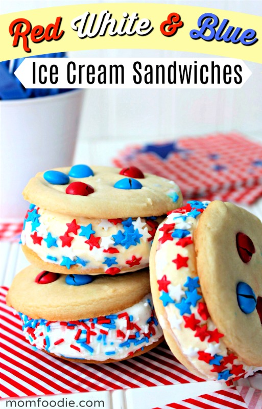 red white & blue ice cream sandwiches