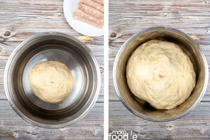 rising the dough in bowl.