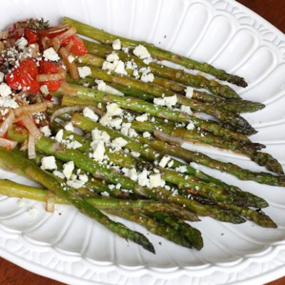 Balsamic Roasted Asparagus & Tomato with Blue Cheese: Easy Recipe