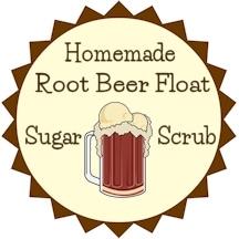 root beer float sugar scrub label