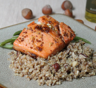Hazelnut-Truffle Oil Quinoa (served with Maple Mustard Salmon)