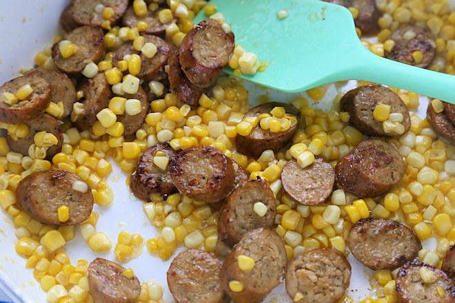 sausage and corn