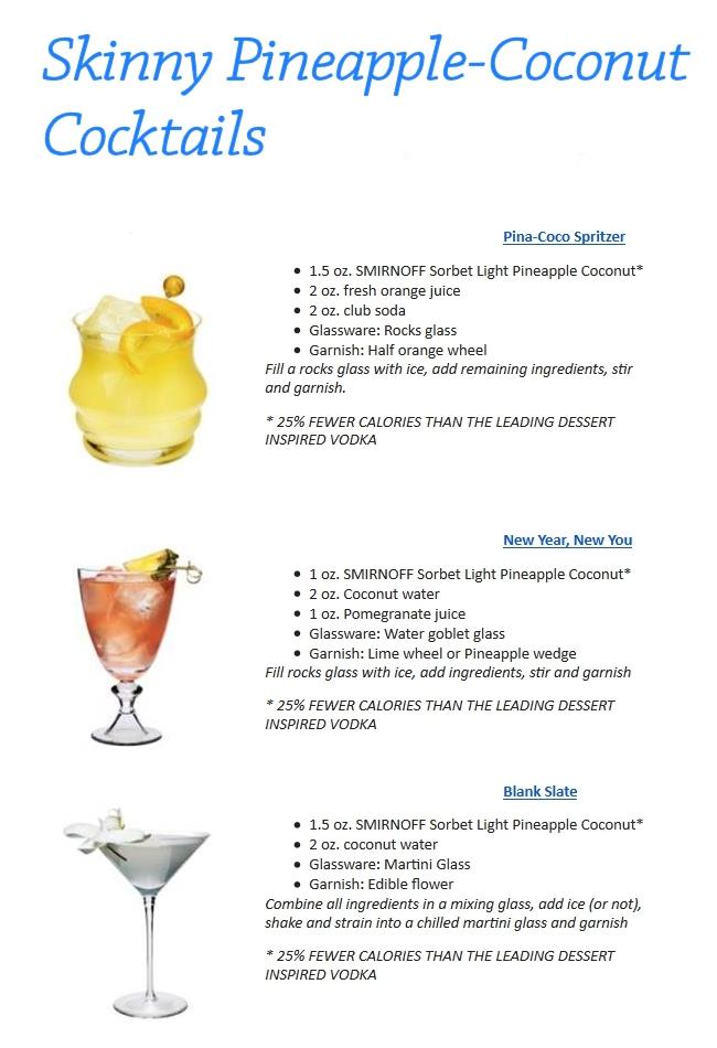 skinny pineapple coconut cocktails