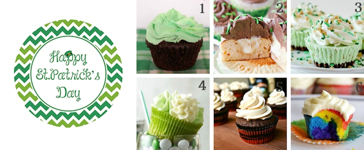 st patricks day cupcakes and topper