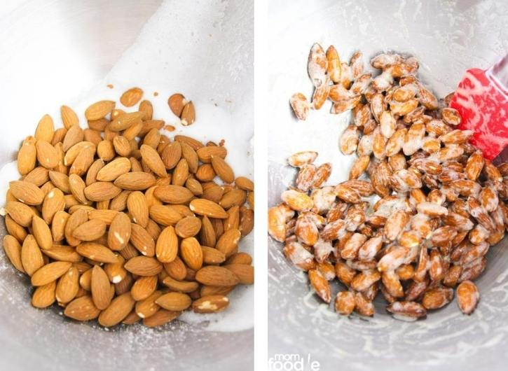 mix almonds and egg whites