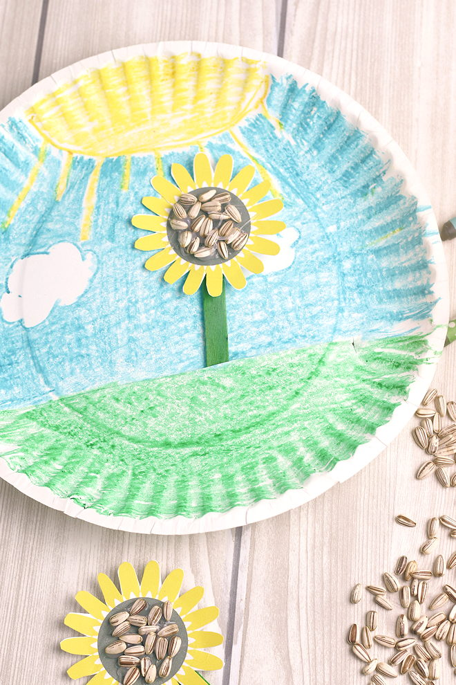 sunflower paper plate craft for kid