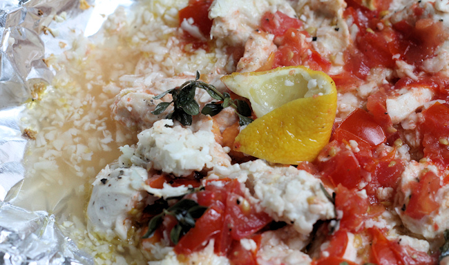 tomato-caper chicken in foil packet