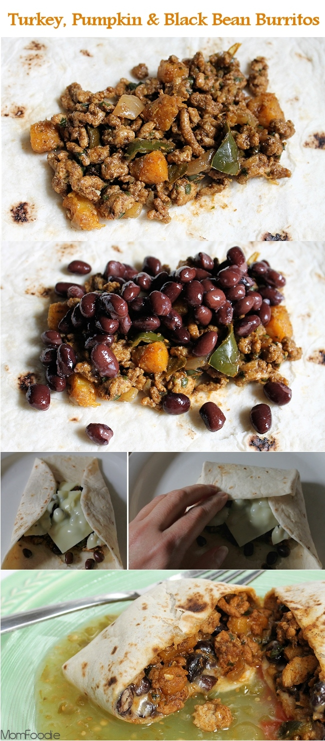 Turkey, Pumpkin and Black Bean Burritos (with Turkey-Pumpkin Filling ...