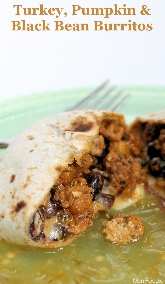 turkey pumpkin and black bean burritos