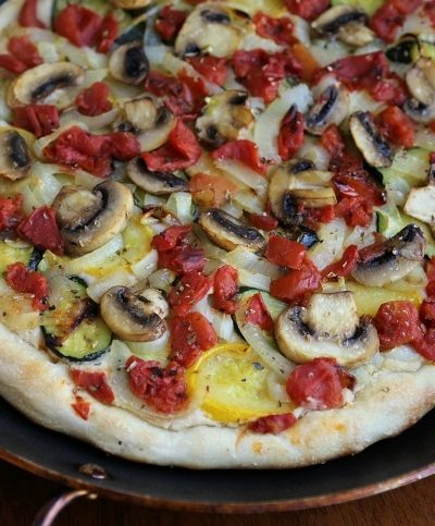 vegan roasted vegetable with pizza cashew white bean sauce