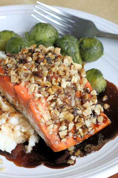 Walnut Crusted Salmon with Guinness Reduction