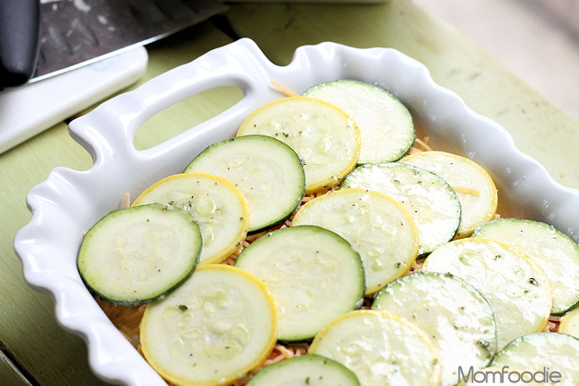zucchini marinated in ranch on top