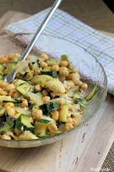 zucchini salad with chick pea and artichoke
